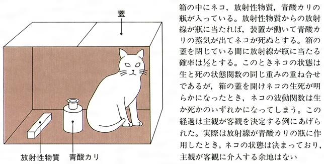 ... 放射線を受けて毒瓶が壊れるという客観的過程によってネコの状態は生と死の状態関数の重ね合わせから、いずれか一方に量子力学的に変化したのであって、この変化は  ...