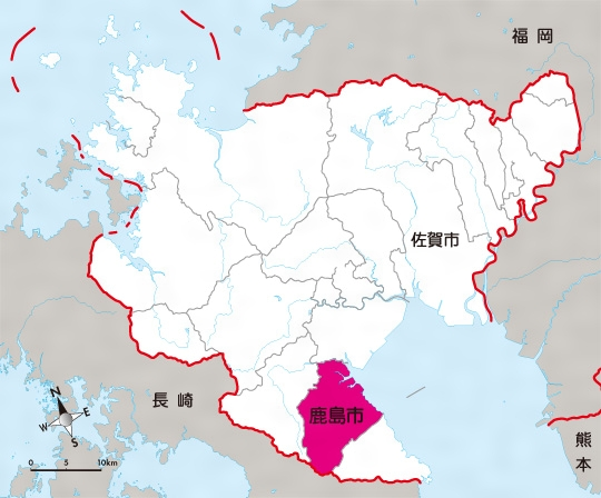 佐賀県鹿島市の位置